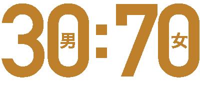 30(男):70(女)